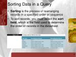 sorting data in a query