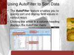 using autofilter to sort data