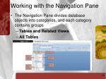 working with the navigation pane