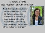 mackenzie potts vice president of public relations
