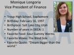 monique longoria vice president of finance