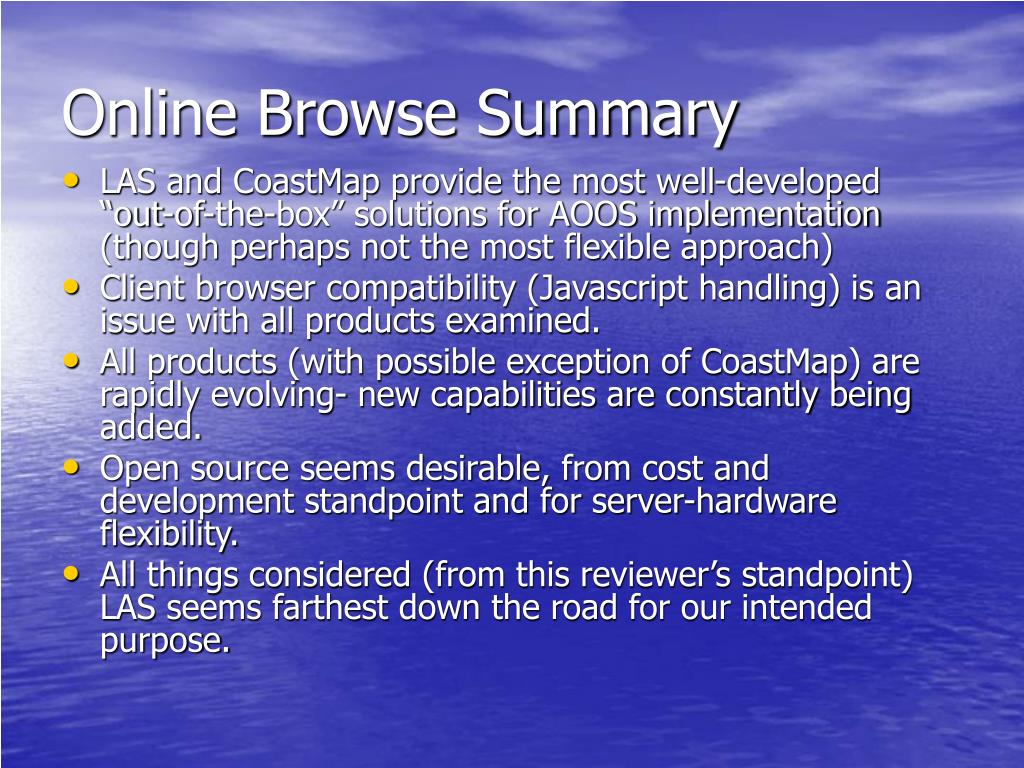 Online Browse Summary