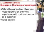 i customer service discussion sharing your experience