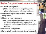 rules for good customer service