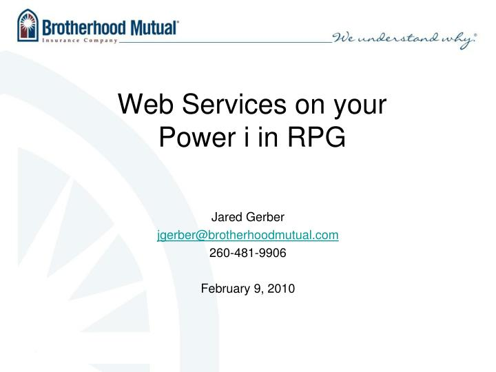 web services on your power i in rpg n.