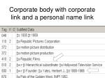 corporate body with corporate link and a personal name link