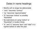 dates in name headings