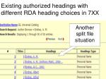 existing authorized headings with different rda heading choices in 7xx
