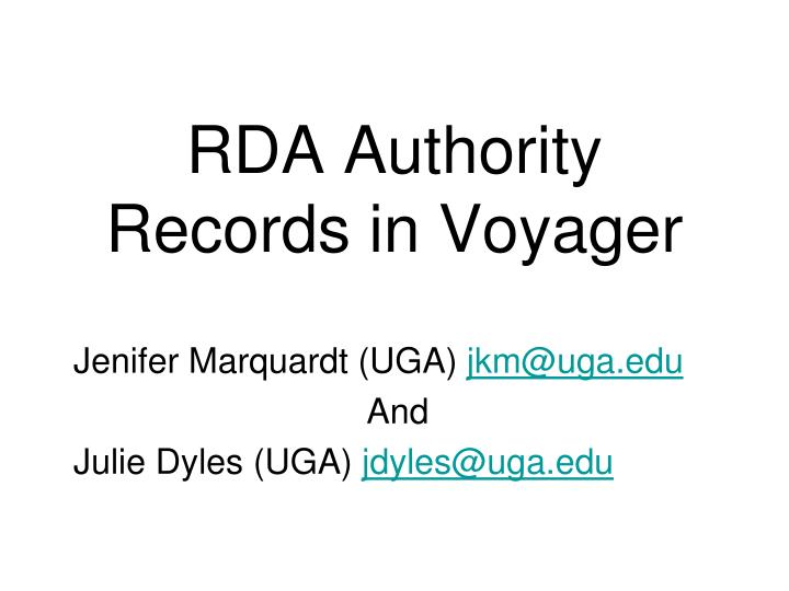 rda authority records in voyager n.