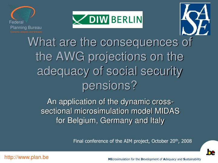 what are the consequences of the awg projections on the adequacy of social security pensions n.