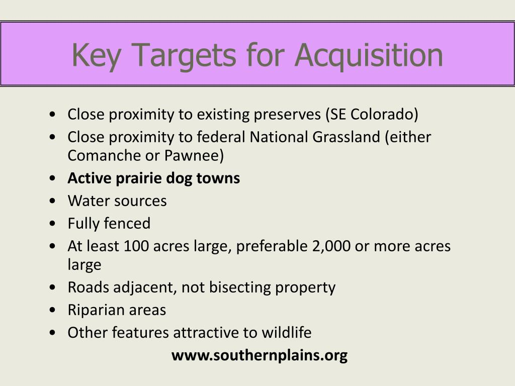 Key Targets for Acquisition