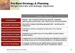 pre deal strategy planning merger rationale and strategic objectives