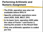 performing arithmetic and numeric assignment
