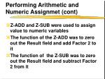 performing arithmetic and numeric assignmet cont