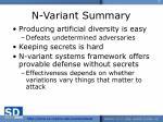 n variant summary