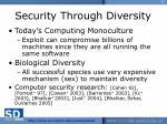 security through diversity