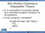 why perfect checking is impossible theory