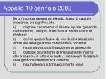 appello 10 gennaio 2002