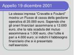 appello 19 dicembre 2001