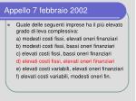 appello 7 febbraio 20021