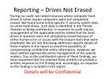 reporting drives not erased
