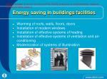 energy saving in buildings facilities