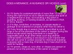 dogs a menance a nuisance or vicious cont