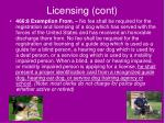 licensing cont