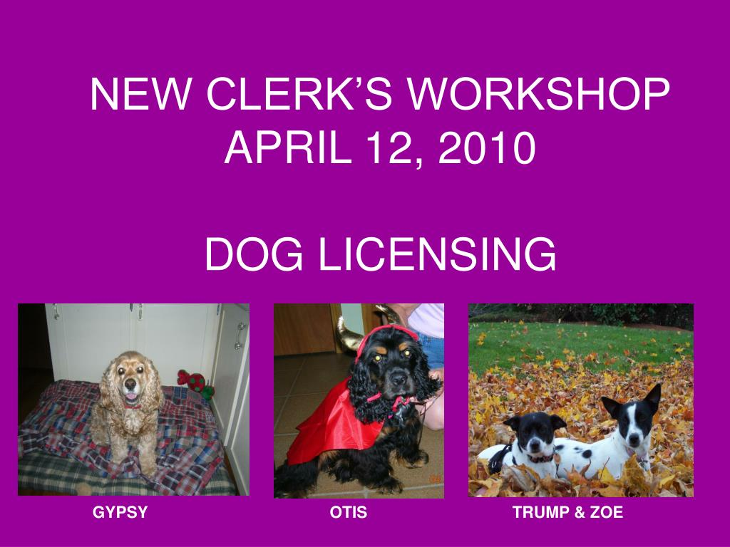 new clerk s workshop april 12 2010 dog licensing l.