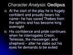 character analysis oedipus