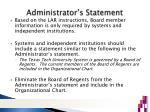 administrator s statement