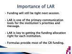 importance of lar