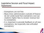 legislative session and fiscal impact statements