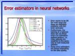 error estimators in neural networks