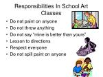 responsibilities in school art classes