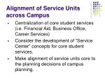 alignment of service units across campus