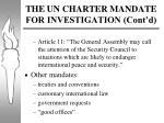the un charter mandate for investigation cont d
