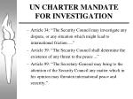 un charter mandate for investigation