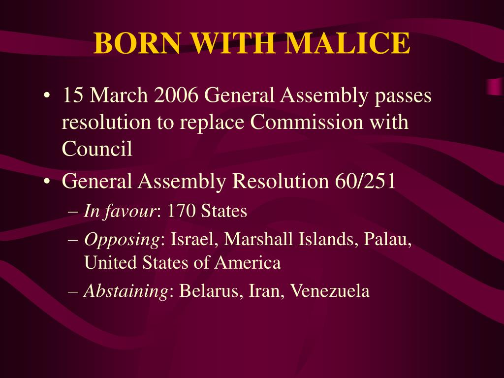 BORN WITH MALICE