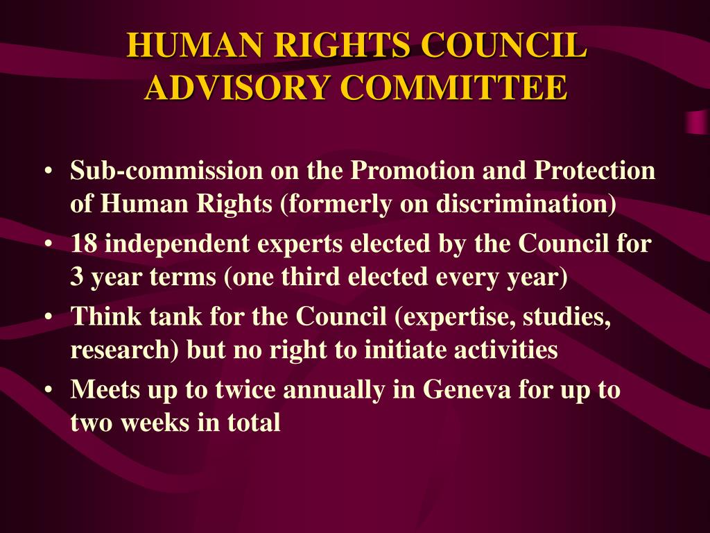 HUMAN RIGHTS COUNCIL ADVISORY COMMITTEE