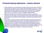 forward looking statements caution advised