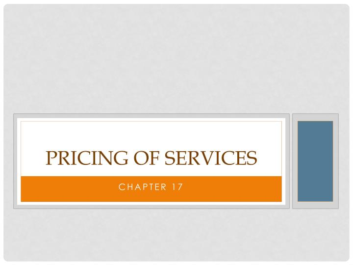 pricing of services n.
