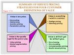 summary of service pricing strategies for four customer definitions of value