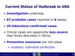 current status of outbreak in usa