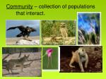 community collection of populations that interact