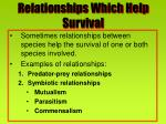 relationships which help survival