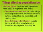 things affecting population size
