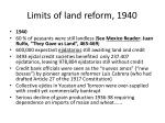 limits of land reform 1940