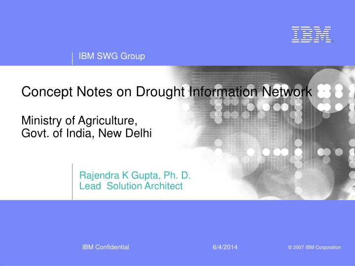 concept notes on drought information network ministry of agriculture govt of india new delhi n.