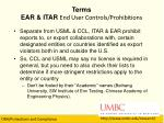 terms ear itar end user controls prohibitions
